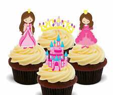 Pink Princesses Edible Cup Cake Toppers, Standup Fairy Decorations Girl Birthday