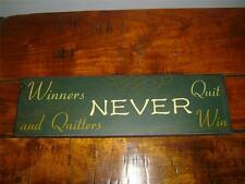 """WALL ART """"WINNERS NEVER QUIT"""", PICTURE,WOODEN PLAQUE,SHABBY CHIC,DISTRESSED SIGN"""
