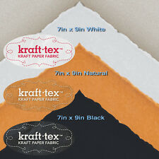 KRAFT-TEX 3-PIECE SMALL SAMPLER Natural White Black Wash Sew Leather-Like Paper