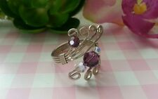 Beautiful Crystal Wire Ring Real Solid Sterling Silver 925 Violet Adjustable D95