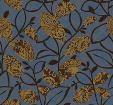 Wallpaper Designer Modern Art Deco Style Metallic Gold Leaves Leaf on Blue