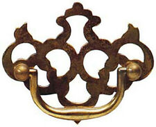 """3"""" Antique Style Solid Brass Fretted Plate Drawer Handle 1529A/A"""