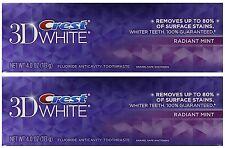 Crest 3d White Radiant Mint Flavor Whitening Toothpaste 4 oz, 2 Pack