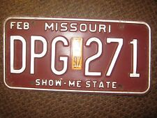 1997 STICKER DATED,DGP-271 FEB MISSOURI BROWN AND WHITE LICENSE PLATE ONLY ONE
