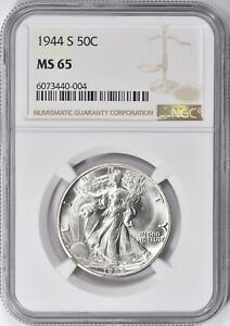 """1944-S WALKING LIBERTY HALF DOLLAR  NGC MS-65 """"GORGEOUS"""" ONLY  261 GRADED HIGHER"""