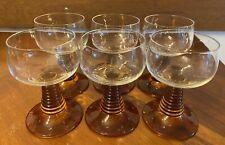 6 Weinrömer braun Glas 0,1l vintage