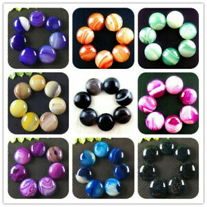 7pcs Wholesale 18x6mm Mixed Colors Stripes Onyx Agate Round Cab Cabochon LWY18