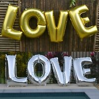 LOVE BALLOONS | Silver Gold Foil Letters | Valentines Wedding Engagement Party