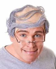 Adult Mens Old Man Grandpa Bald Comb Over Grey Hair Fancy Dress Wig Accessory