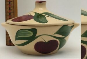 Watt Pottery Red Green Yellow Apple Tab Handled Bowl wi Lid. Very good condition
