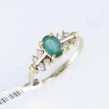 NYJEWEL 14k Soild Gold New Emerald 0.35ct Diamond Cocktail Ring $1299 Great Gift