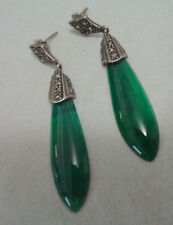 Sterling Long Earrings W, Crystophase & Marcasite Stones Post