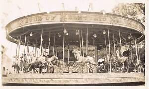 RP POSTCARD - MRS IRVIN'S GALLOPERS FAIRGROUND RIDE, HENLEY 1927