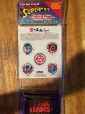 Pogs DC Sky caps The Return of Superman and 2 packs Cosmic teams cards
