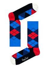 Happy Socks Blue Red Black Argyle Pattern Design Size 7 - 11 UK Mens Unisex Sock