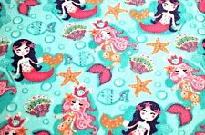 PRETTY MERMAIDS, SEA SHELL, & FISH ON TURQUOIS  FLEECE MATERIAL 2 YARDS 60 X 72""