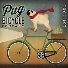 Pug on a Bike Poster by Ryan Fowler Wall Art Print
