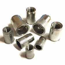 M6 / 6mm Threaded Rivet Insert Riv Nuts - Stainless Steel - Open End Knurled