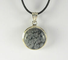 Snowflake Obsidian Pendant Necklace .925 Sterling Silver Black White Stone