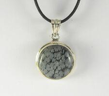 FIOCCO DI NEVE OSSIDIANA Collana con ciondolo .925 argento qualità NERO BIANCO