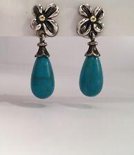 Ann King Dangle Turquoise Sterling Silver Flower 18k Bead 14k Post Earrings