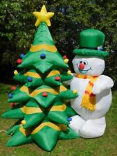Vintage Inflatable 8' Tall Christmas Tree with Snowman Airblown Lighted Gemmy