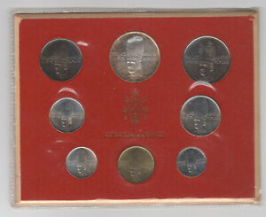 1969 VATICAN PAUL VI 8 COIN UNCIRCULATED MINT SET WITH SILVER 500 LIRA