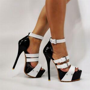Sexy High Heels Platform Strap Sandals Peep Toe Stilettos Buckle Slim Lady Shoes