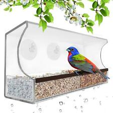 Deluxe Clear Window Bird Feeder, Large Wild Birdfeeder with Drain Holes,