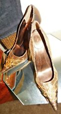 "NEW BABY PHAT METALLIC ORNATE 4"" PUMPS OF MIXED MATERIALS SZ 8.5 B"