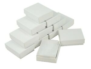 24 Pcs White Gloss Rectangular Cardboard Box Jewellery Charm Earring Gift Boxes