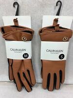 Calvin Klein Women's Leather Contrast Color Gloves Tan / DK Brown SMALL - MEDIUM