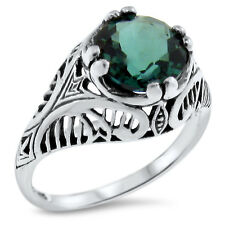 2 CT SIM EMERALD ANTIQUE FILIGREE DESIGN 925 STERLING SILVER RING SZ 5.75,#673