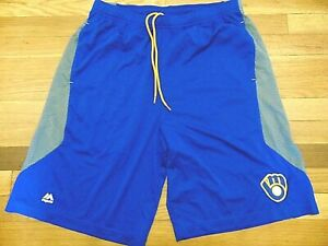 NEW MAJESTIC MLB MILWAUKEE BREWERS COOL BASE PERFORMANCE SHORTS SIZE L