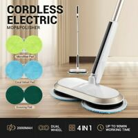 4 In 1 Electric Floor Spin Mop Cleaner Wax Polisher Tile Dry Wet Washer Rotating