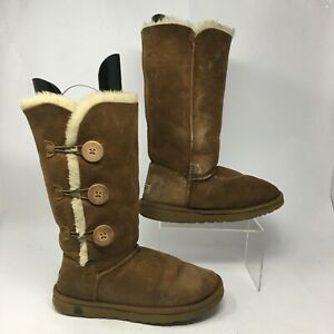 UGG Womens 7 Bailey Button Triplet Shearling Winter Boots Brown Suede Wool 1873