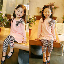 Toddler Kids Baby Girl Long Sleeve T-Shirt Tops + Striped Pants Outfits Clothes