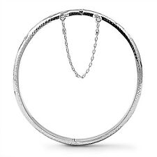 925 Sterling Silver Hinged Bangle Bracelet with Safety Chain - 5 X 55 X 60 mm