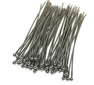 304 hypoallergenic stainless steel headpins 2 inch, 24 gauge, 2mm ball