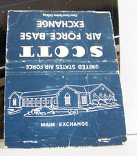 Rare Vintage Matchbook Cover Illinois Scott Air Force Base Exchange Illustration