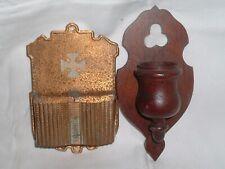 2 Antique Fireplace match Holders , Match safe - Treen / wood / Brass