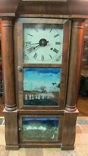 C. 1845 Birge & Peck Double Decker Mahogany Antique Weight Driven Clock