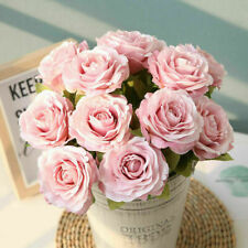 12 Heads Rose Bouquet Bundle Silk Flowers Floral Bunch Wedding Pretty Decoration