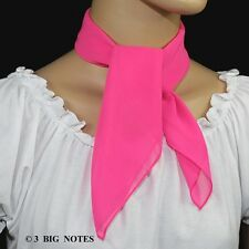 50s Style NEON PINK Sheer Chiffon Square Scarf for Poodle Skirt/ Sock Hop