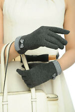 Gants hiver feminin gris foncés polaires vichy smartphone ecran tactile pinup