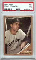 Rocky Colavito 1962 Topps Vintage Baseball Card Graded PSA 7 NM Tigers #20