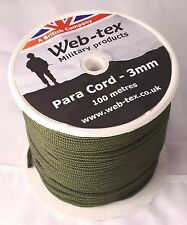 100 Metres Metre Reel Olive Green Army Style 3mm Paracord Para Cord on a Spool