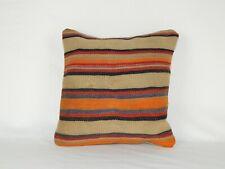 Bohemian Decor Orange Kilim Pillow Cover ,Decorative Throw Pillows,  16'' X 16''