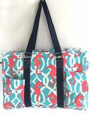 Multi Pocket Organizer Tote Bag Nurses Teachers Love Them! Canvas Sea Horse Gift