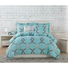 Comforter Set Full/Queen Size Teal 5 Piece Geometric Embroidery Soft Microfiber